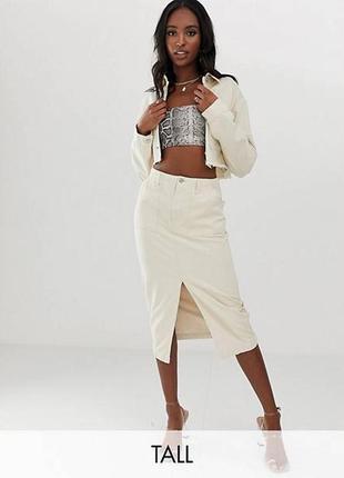 Джинсовая юбка миди missguided, размер 81 фото