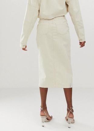 Джинсовая юбка миди missguided, размер 82 фото