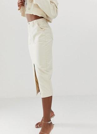 Джинсовая юбка миди missguided, размер 83 фото