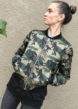 Камуфляжный милитари бомбер куртка