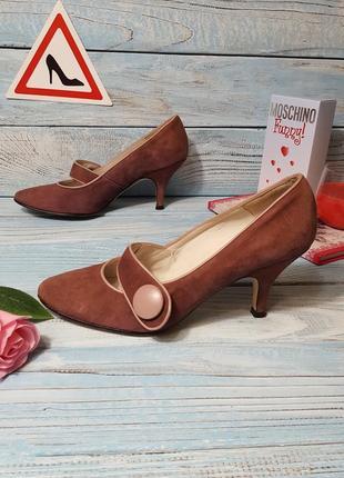 Замшевые кожаные туфли лодочки с ремешком на кнопке на низком каблучке john lewis  р. 38