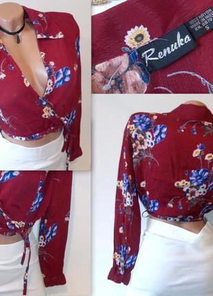 Цветочный кроп топ с длинным рукавом на запах блуза рубашка шифоновая4 фото