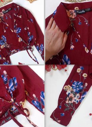 Цветочный кроп топ с длинным рукавом на запах блуза рубашка шифоновая5 фото