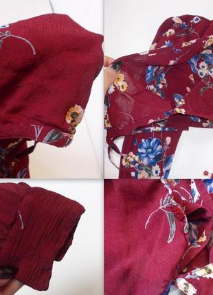 Цветочный кроп топ с длинным рукавом на запах блуза рубашка шифоновая6 фото
