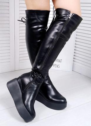 ❤невероятные женские черные зимние  сапоги  ботфорты  на танкетке на меху ❤