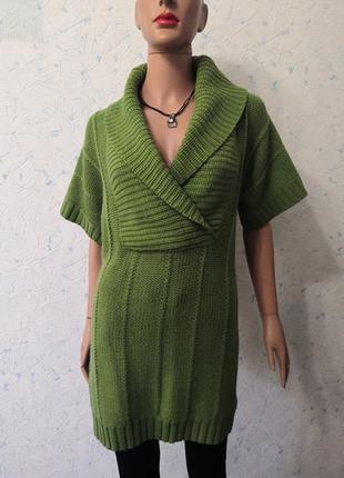 Вязаное платье свитер с коротким рукавом outfit