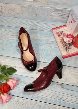 Лаковые комбинированные лаковые туфельки туфли на низком каблучке р. 37 (4)