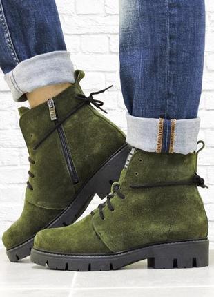 Зимние замшевые ботинки. хаки.
