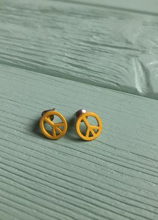 Серьги гвоздики мир желтые peace1 фото