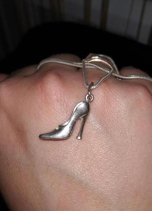 Серебрянный кулон, подвеска туфелька1 фото
