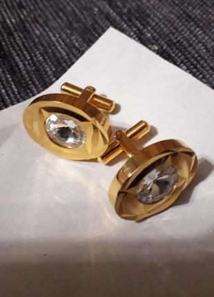 """Золотисті запонки ,,монарх """" з кристалом"""