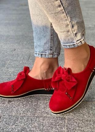 Красные слипоны туфли с бантом1 фото