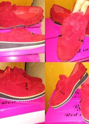 Красные слипоны туфли с бантом2 фото