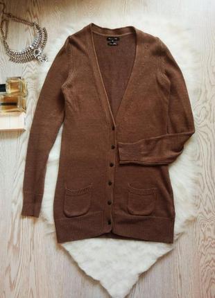 Длинный льняной свитер на пуговичках кардиган кофта с вырезом и карманами massimo dutti