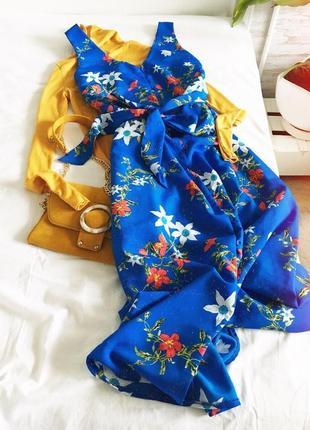 Платье халат цветочный принт с поясом длины миди от atmosphere