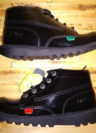 Ботинки деми kickers kick hi core kf 579 лаковая кожа eur 36