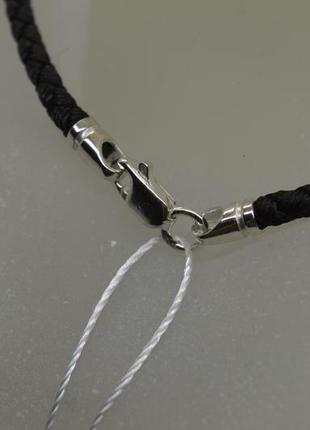 Серебряный #шнурок #нейлон #унисекс #на шею #925, все размеры!6 фото