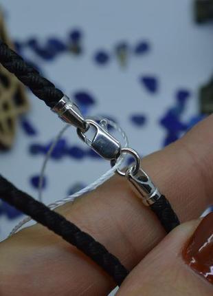 Серебряный #шнурок #нейлон #унисекс #на шею #925, все размеры!3 фото