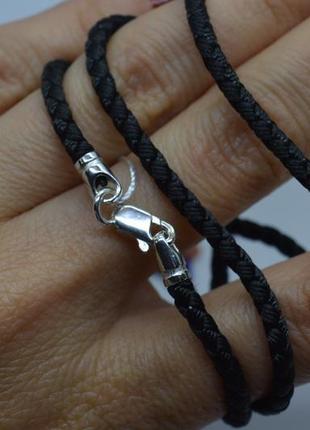 Серебряный #шнурок #нейлон #унисекс #на шею #925, все размеры!5 фото
