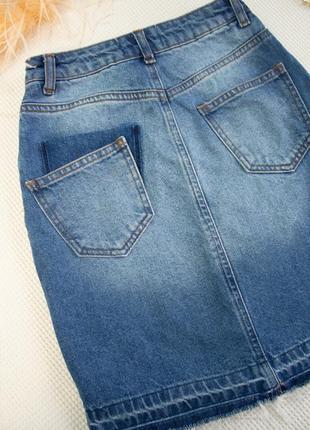 Джинсовая юбка высокая посадка с необработанным низом5 фото