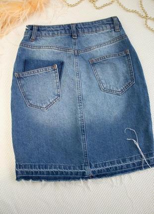Джинсовая юбка высокая посадка с необработанным низом2 фото