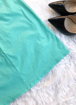 Яркое мятное платье трапеция7 фото