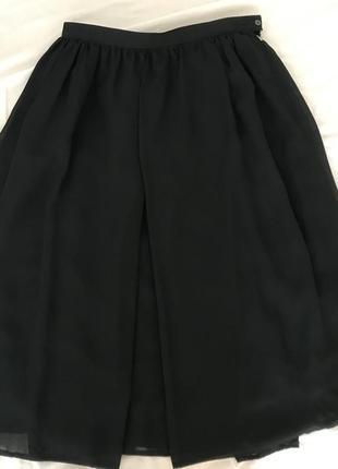 Юбка шифон чёрная италия1 фото