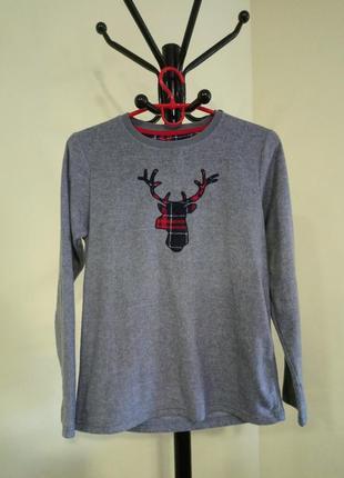 Серая теплая флисовая домашняя/пижамная кофта rebel