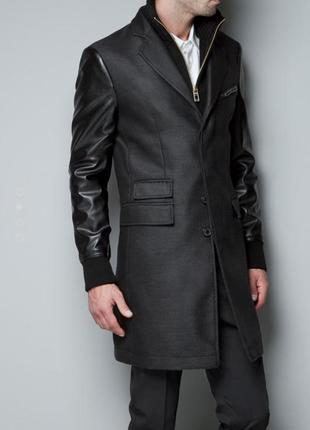 Мужское пальто тренч с шерстью и рукавами из кожзама р. l -xl