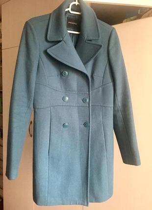 Пальто в стиле 60х двубортное  бирюзового цвета шерстяное