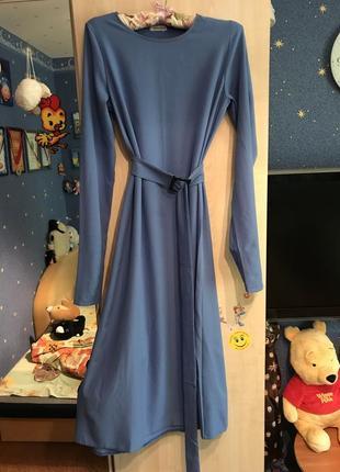 Красивое платье небесного цвета!2 фото