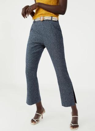 Zara брюки твид букле с разрезами и плетенным поясом высокая посадка