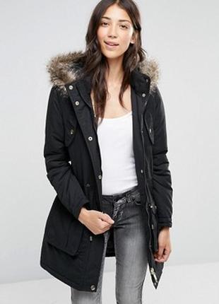 Чёрная парка куртка пальто only