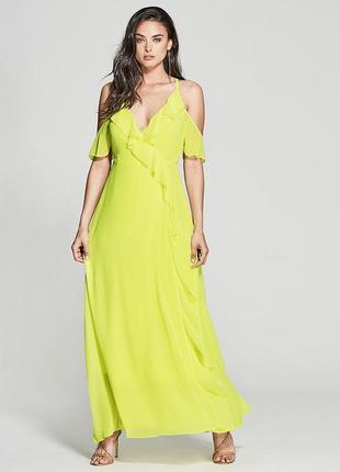 Шикарное шифоновое платье на запах guess