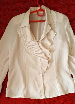 Блуза красивая плиссе, жабо, размер м
