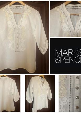 Белоснежная ажурная рубашка блуза marks&spenker m/10/38 100% лён