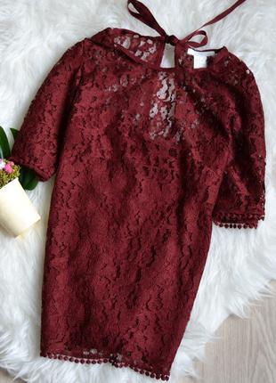 Кружевная бордовая блузка h&m1 фото