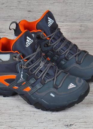 Термо кроссовки детские кожаные adidas gore tex terrex мембранные серые с оранжевым