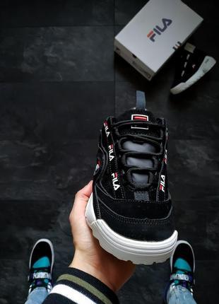 Шикарные женские кроссовки fila black чёрные 😃 (весна лето осень)5 фото