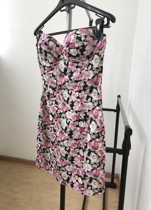 Платье бюстье paprika 10 без бретелек в цветы