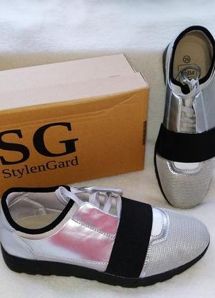 Кроссовки туфли спортивные металлик сетка