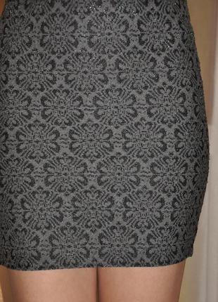 Мини юбка меланжево серого цвета