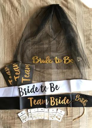 Набор декора для девичника-обруч корона невесты, фата, флеш тату