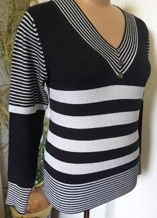 Полосатый  пуловер с люрексом