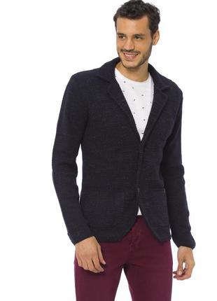 Мужской пиджак lc waikiki синий меланжевый c 3-мя накладными карманами, на пуговицах