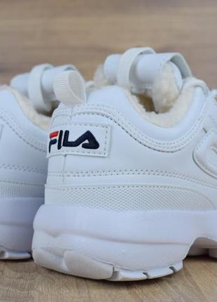 Шикарные женские зимние кроссовки с мехом fila disruptor 2 white fur ❄4 фото
