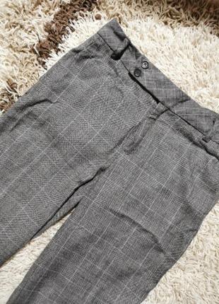 Брюки штаны шерсть шерстяные серые в клетку mango