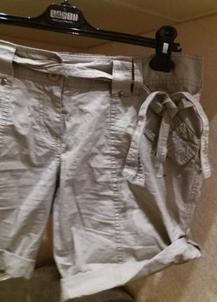 Натуральные серые шорты полированый котон под поясок3 фото