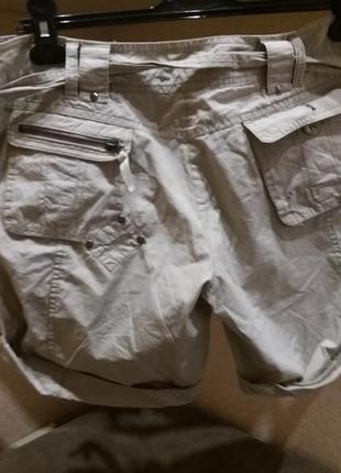 Натуральные серые шорты полированый котон под поясок7 фото