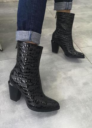 Эксклюзив!кожаные ботинки из крутой кожи осень-зима